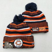 Wholesale Cheap Bears Team Logo Orange 100th Season Pom Knit Hat YD