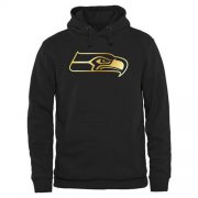 Wholesale Cheap Men's Seattle Seahawks Pro Line Black Gold Collection Pullover Hoodie