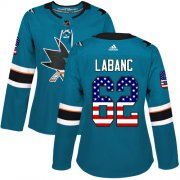 Wholesale Cheap Adidas Sharks #62 Kevin Labanc Teal Home Authentic USA Flag Women's Stitched NHL Jersey