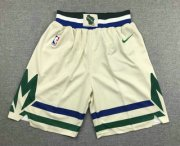 Wholesale Cheap Men's Milwaukee Bucks Cream 2020 City Edition NBA Swingman Shorts