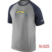 Wholesale Cheap Nike San Diego Chargers Ash Tri Big Play Raglan NFL T-Shirt Grey/Navy