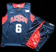 Wholesale Cheap 2012 Olympic USA Team #6 LeBron James Blue Basketball Jerseys & Shorts Suit
