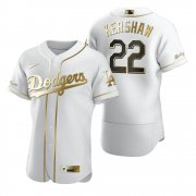 Wholesale Cheap Los Angeles Dodgers #22 Clayton Kershaw White Nike Men's Authentic Golden Edition MLB Jersey
