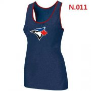 Wholesale Cheap Women's Nike Toronto Blue Jays Big Logo Tri-Blend Racerback Stretch Tank Top Blue
