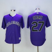 Wholesale Cheap Rockies #27 Trevor Story Purple New Cool Base Stitched MLB Jersey