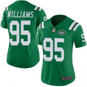 Wholesale Cheap Nike Jets #95 Quinnen Williams Green Women's Stitched NFL Limited Rush Jersey