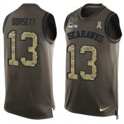 Wholesale Cheap Nike Seahawks #13 Phillip Dorsett Green Men's Stitched NFL Limited Salute To Service Tank Top Jersey
