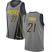 Wholesale Cheap Nike Pacers #21 Thaddeus Young Gray NBA Swingman City Edition Jersey