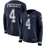 Wholesale Cheap Nike Cowboys #4 Dak Prescott Navy Blue Team Color Women's Stitched NFL Limited Therma Long Sleeve Jersey