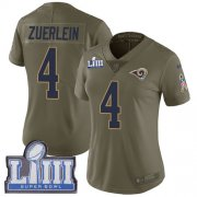 Wholesale Cheap Nike Rams #4 Greg Zuerlein Olive Super Bowl LIII Bound Women's Stitched NFL Limited 2017 Salute to Service Jersey