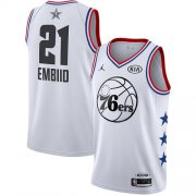 Wholesale Cheap 76ers #21 Joel Embiid White Basketball Jordan Swingman 2019 All-Star Game Jersey