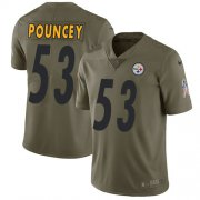 Wholesale Cheap Nike Steelers #53 Maurkice Pouncey Olive Youth Stitched NFL Limited 2017 Salute to Service Jersey