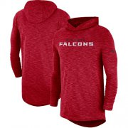 Wholesale Cheap Men's Atlanta Falcons Nike Red Sideline Slub Performance Hooded Long Sleeve T-Shirt