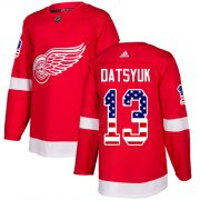 Wholesale Cheap Adidas Red Wings #13 Pavel Datsyuk Red Home Authentic USA Flag Stitched Youth NHL Jersey