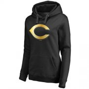 Wholesale Cheap Women's Cincinnati Reds Gold Collection Pullover Hoodie Black