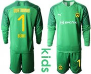 Wholesale Cheap Dortmund #1 Burki Green Goalkeeper Long Sleeves Kid Soccer Club Jersey
