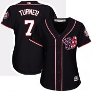 Wholesale Cheap Nationals #7 Trea Turner Navy Blue Alternate Women's Stitched MLB Jersey