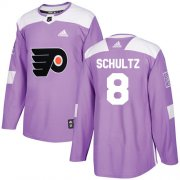 Wholesale Cheap Adidas Flyers #8 Dave Schultz Purple Authentic Fights Cancer Stitched Youth NHL Jersey