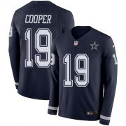 Wholesale Cheap Nike Cowboys #19 Amari Cooper Navy Blue Team Color Men's Stitched NFL Limited Therma Long Sleeve Jersey