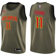 Wholesale Cheap Hawks #11 Trae Young Green Basketball Swingman Salute to Service Jersey