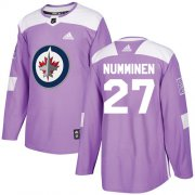 Wholesale Cheap Adidas Jets #27 Teppo Numminen Purple Authentic Fights Cancer Stitched NHL Jersey