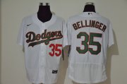 Wholesale Cheap Men's Los Angeles Dodgers #35 Cody Bellinger White With Green Name Stitched MLB Flex Base Nike Jersey