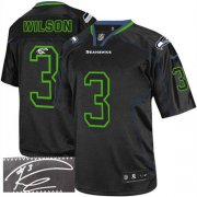 Wholesale Cheap Nike Seahawks #3 Russell Wilson Lights Out Black Men's Stitched NFL Elite Autographed Jersey