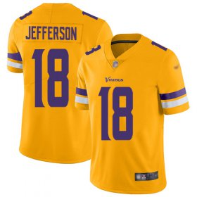 Wholesale Cheap Nike Vikings #18 Justin Jefferson Gold Youth Stitched NFL Limited Inverted Legend Jersey