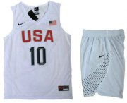 Wholesale Cheap 2016 Olympics Team USA Men's #10 Kyrie Irving Revolution 30 Swingman White Jersey Shorts