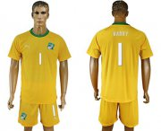 Wholesale Cheap Cote d'lvoire #1 Barry Home Soccer Country Jersey