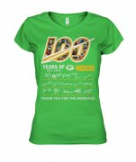 Wholesale Cheap Green Bay Packers 100 Seasons Memories Women's T-Shirt Light Green