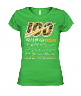 Wholesale Cheap Green Bay Packers 100 Seasons Memories Women\'s T-Shirt Light Green