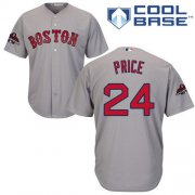 Wholesale Cheap Red Sox #24 David Price Grey Cool Base 2018 World Series Champions Stitched Youth MLB Jersey