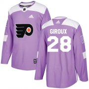 Wholesale Cheap Adidas Flyers #28 Claude Giroux Purple Authentic Fights Cancer Stitched Youth NHL Jersey