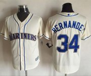 Wholesale Cheap Mariners #34 Felix Hernandez Cream New Cool Base Stitched MLB Jersey