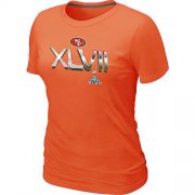 Wholesale Cheap Women's San Francisco 49ers Super Bowl XLVII On Our Way T-Shirt Orange
