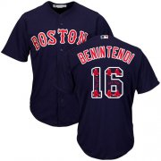 Wholesale Cheap Red Sox #16 Andrew Benintendi Navy Blue Team Logo Fashion Stitched MLB Jersey