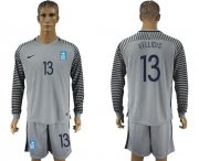 Wholesale Cheap Greece #13 Vellidis Grey Goalkeeper Long Sleeves Soccer Country Jersey