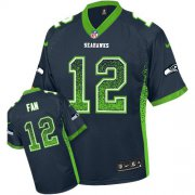 Wholesale Cheap Nike Seahawks #12 Fan Steel Blue Team Color Youth Stitched NFL Elite Drift Fashion Jersey