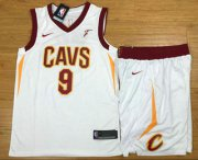 Wholesale Cheap Men's Cleveland Cavaliers #9 Dwyane Wade White 2017-2018 Nike Swingman Stitched NBA Jersey With Shorts