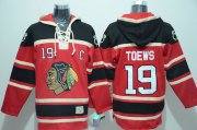 Wholesale Cheap Blackhawks #19 Jonathan Toews Red Sawyer Hooded Sweatshirt Stitched NHL Jersey
