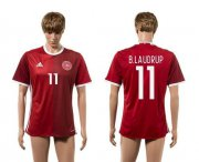Wholesale Cheap Danmark #11 B.Laudrup Red Home Soccer Country Jersey