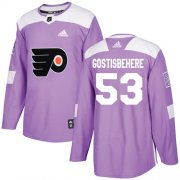 Wholesale Cheap Adidas Flyers #53 Shayne Gostisbehere Purple Authentic Fights Cancer Stitched Youth NHL Jersey
