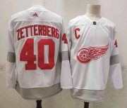 Wholesale Cheap Men's Detroit Red Wings #40 Henrik Zetterberg White Adidas 2020-21 Alternate Authentic Player NHL Jersey