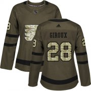 Wholesale Cheap Adidas Flyers #28 Claude Giroux Green Salute to Service Women's Stitched NHL Jersey