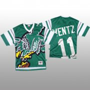 Wholesale Cheap NFL Philadelphia Eagles #11 Carson Wentz Green Men's Mitchell & Nell Big Face Fashion Limited NFL Jersey