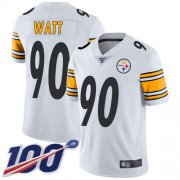 Wholesale Cheap Nike Steelers #90 T. J. Watt White Youth Stitched NFL 100th Season Vapor Limited Jersey