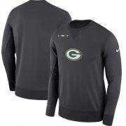 Wholesale Cheap Men's Green Bay Packers Nike Charcoal Sideline Team Logo Performance Sweatshirt