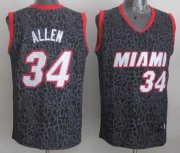 Wholesale Cheap Miami Heat #34 Ray Allen Black Leopard Print Fashion Jersey
