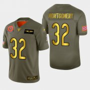 Wholesale Cheap Chicago Bears #32 David Montgomery Men's Nike Olive Gold 2019 Salute to Service Limited NFL 100 Jersey
